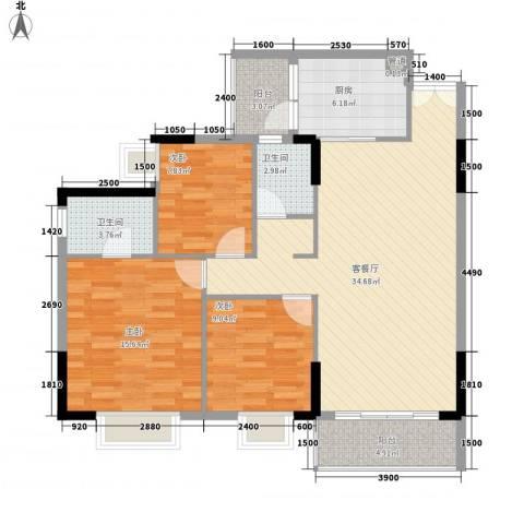 金河湾3室1厅2卫1厨114.00㎡户型图