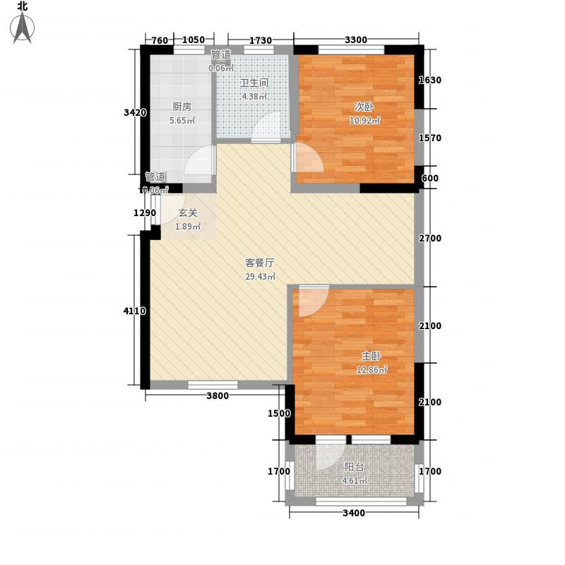 金汇花园8.00㎡C户型2室2厅1卫1厨
