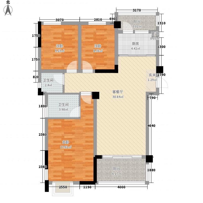 恒嘉中央公园1239户型3室2厅2卫1厨