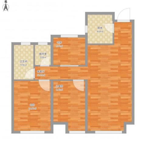 曦城花语3室2厅1卫1厨97.00㎡户型图