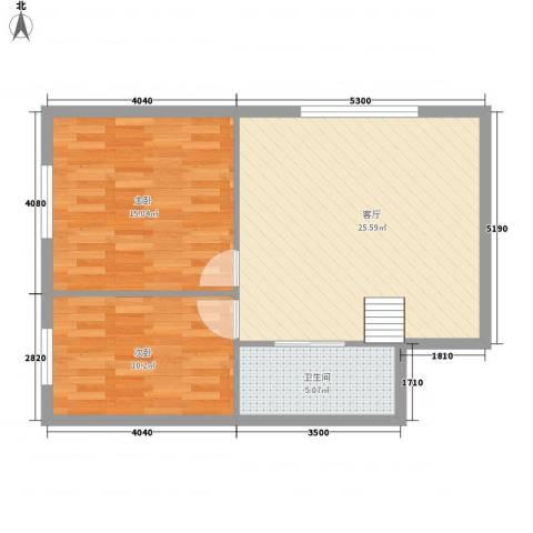 世豪领秀2室1厅1卫0厨77.00㎡户型图