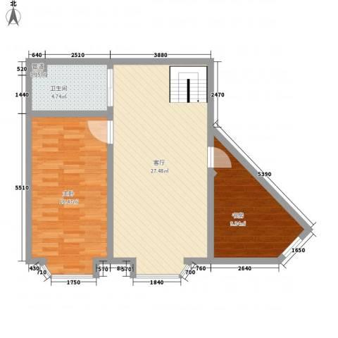 世豪领秀2室1厅1卫0厨82.00㎡户型图