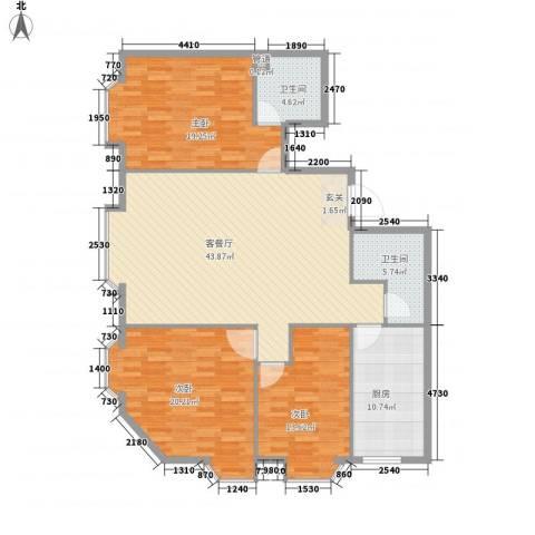 世豪领秀3室1厅2卫1厨161.00㎡户型图