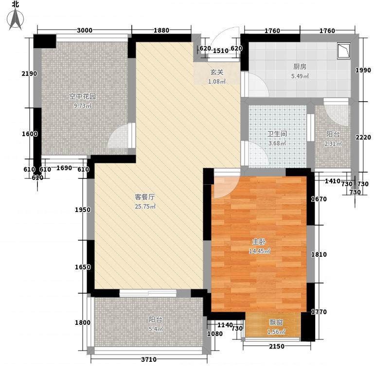 东方国际81.78㎡C2户型1室2厅1卫1厨