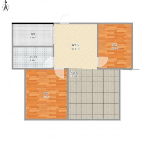 海韵花园2室1厅1卫1厨94.00㎡户型图