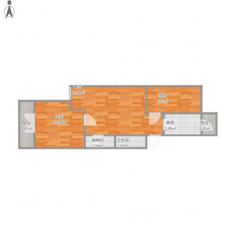 滨河西里北区2室1厅1卫1厨61.00㎡户型图