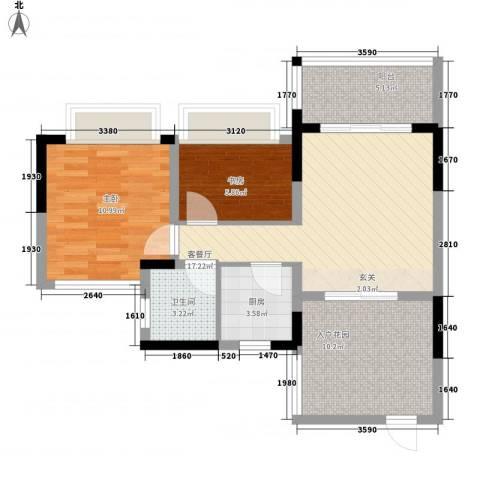 聚福豪苑2室1厅1卫1厨65.59㎡户型图