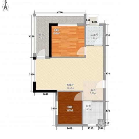 隆基蓝海湾2室1厅1卫1厨78.00㎡户型图