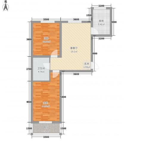 上第LOHAS2室1厅1卫1厨83.00㎡户型图