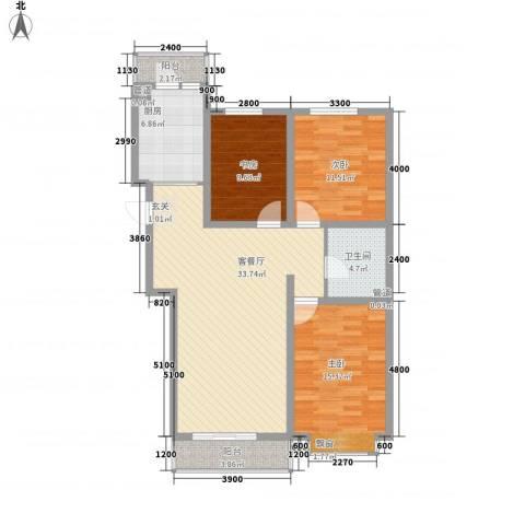 上第LOHAS3室1厅1卫1厨125.00㎡户型图