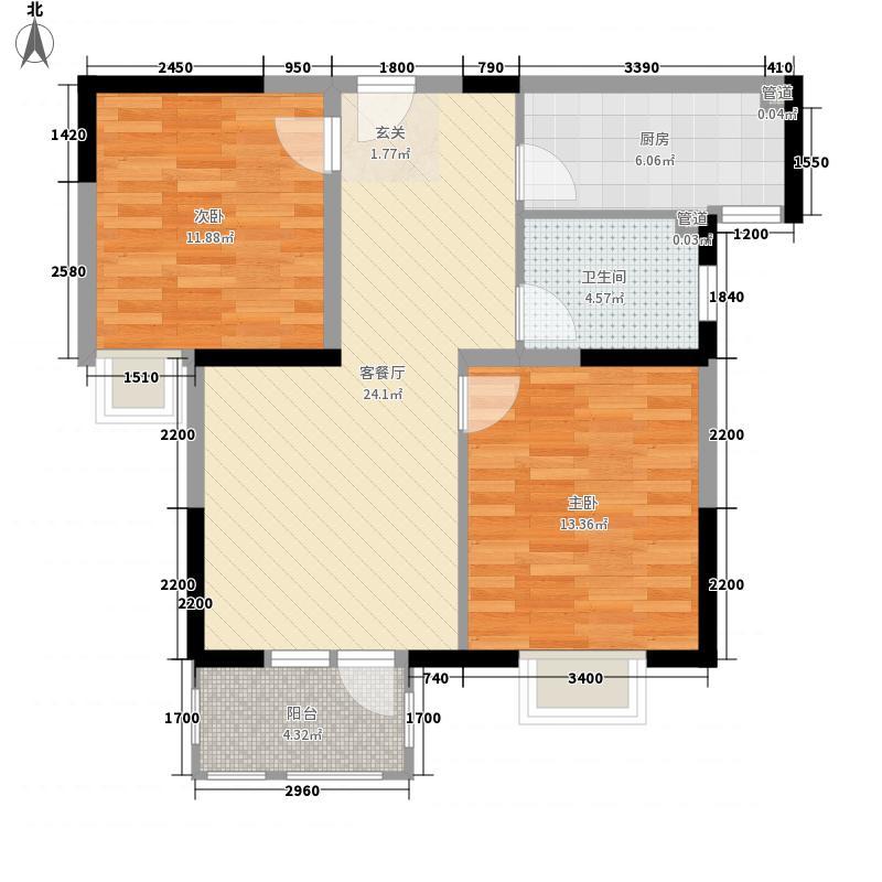 金汇花园88.00㎡F户型2室2厅1卫1厨