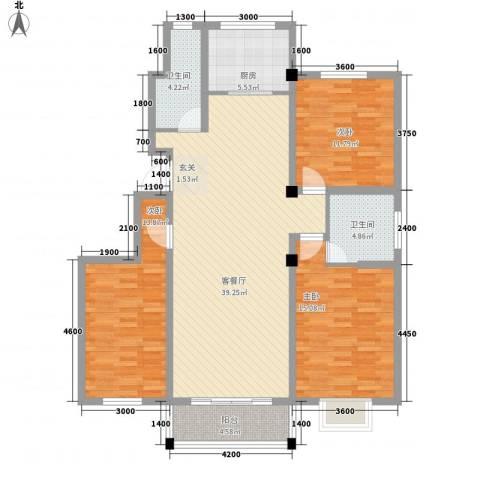 国际新城3室1厅2卫1厨141.00㎡户型图