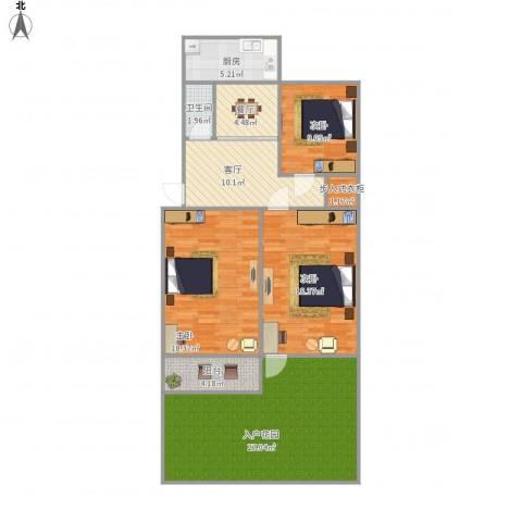 玉函路单位宿舍3室2厅1卫1厨134.00㎡户型图