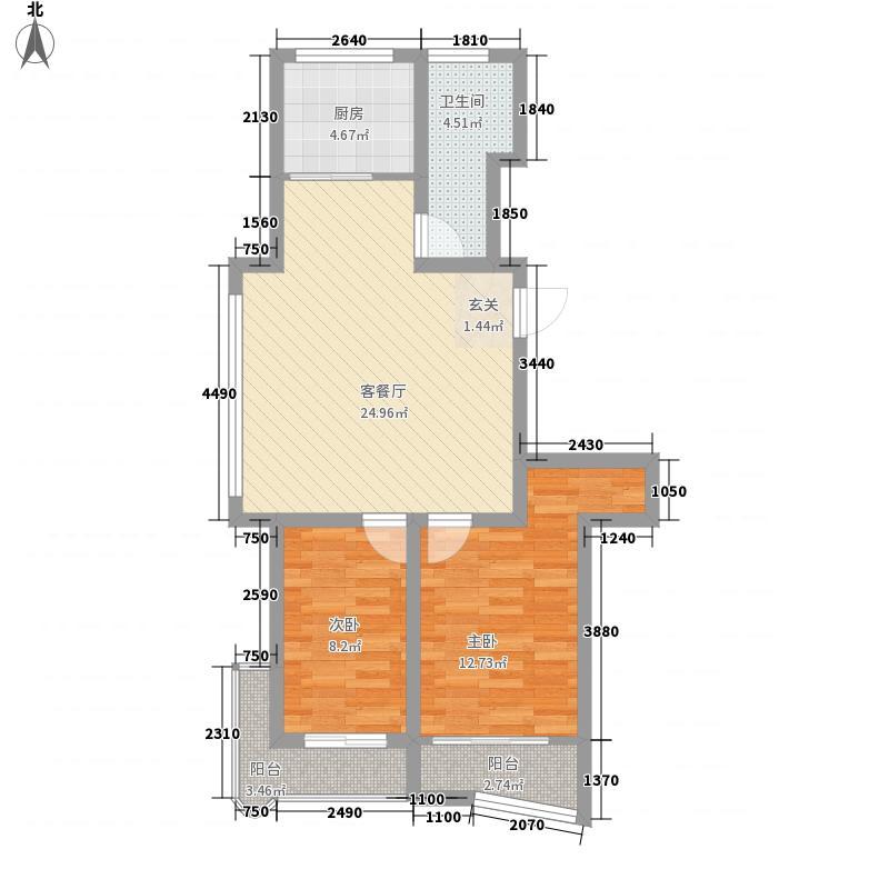 十里河海上人家8.00㎡户型2室2厅1卫1厨