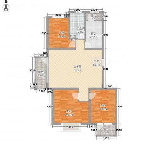 保利・香槟花园3室1厅1卫1厨128.00㎡户型图