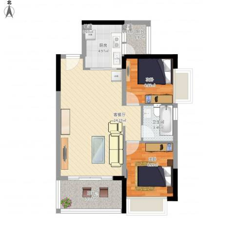 恒大山水城别墅2室1厅1卫1厨80.00㎡户型图