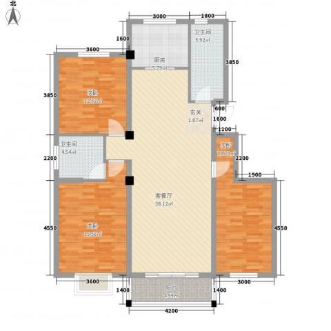 国际新城3室1厅2卫1厨142.00㎡户型图