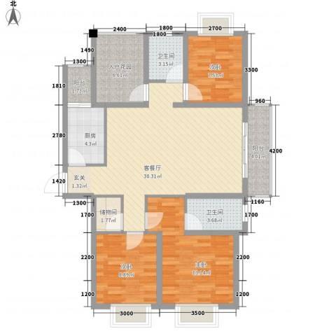 创森财富中心3室1厅2卫1厨118.00㎡户型图