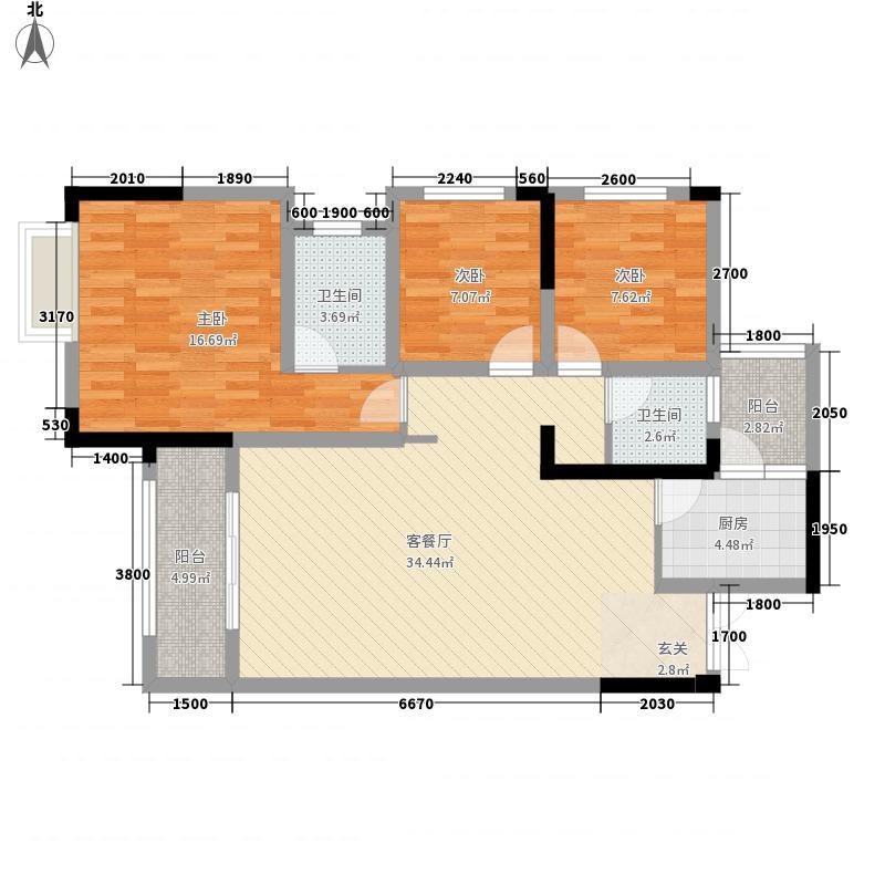 长源・西城国际3111.20㎡A3户型3室2厅2卫1厨