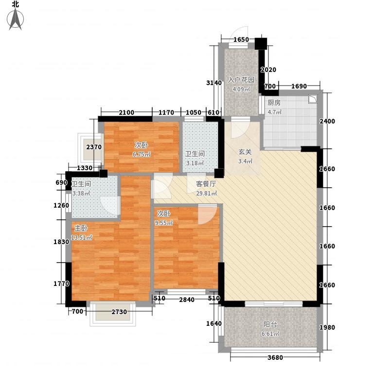 七度公园湾1号116.16㎡C户型3室2厅2卫