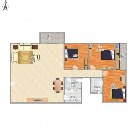 鸿业大厦3室1厅2卫1厨166.00㎡户型图