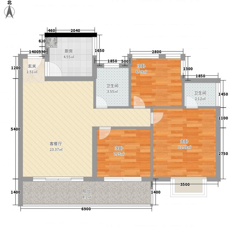 维多利亚广场15.20㎡维多利亚花园户型3室2厅2卫