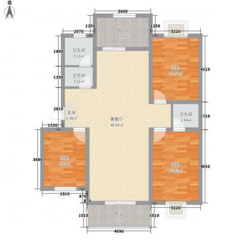 世嘉馨城3室1厅3卫0厨133.00㎡户型图