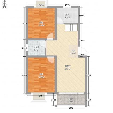 望馨花苑别墅2室1厅1卫1厨88.00㎡户型图