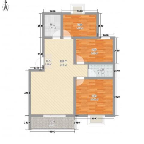 世嘉馨城3室1厅1卫1厨73.14㎡户型图