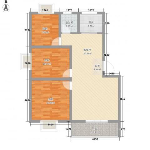 世嘉馨城3室1厅1卫1厨74.27㎡户型图