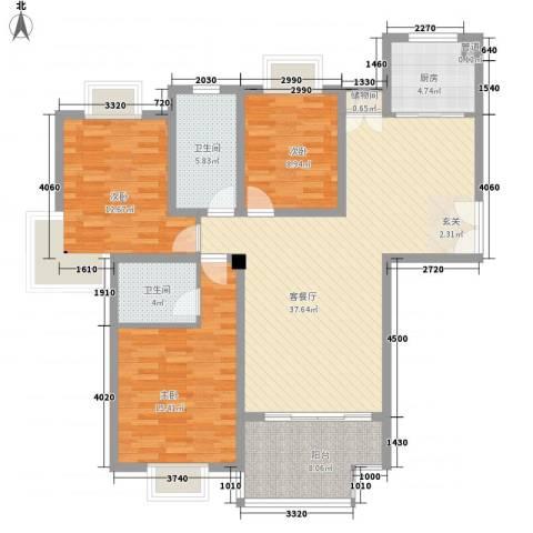 我家山水惠风苑3室1厅2卫1厨140.00㎡户型图