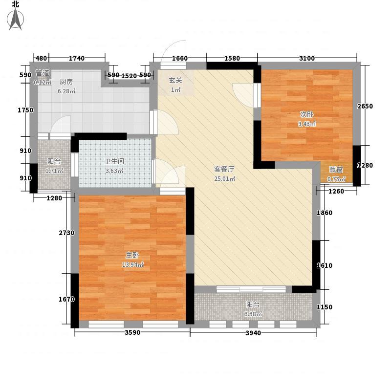 香滨国际87.44㎡F2户型2室2厅1卫1厨