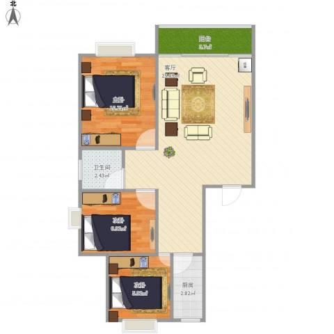 学府芳邻Y2-1F3室1厅1卫1厨78.00㎡户型图