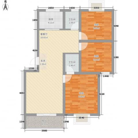世嘉馨城3室1厅2卫1厨73.03㎡户型图