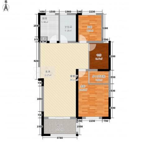 新洲・欧洲城3室1厅1卫1厨117.00㎡户型图