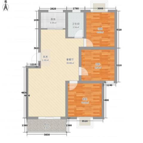 世嘉馨城3室1厅1卫1厨71.34㎡户型图