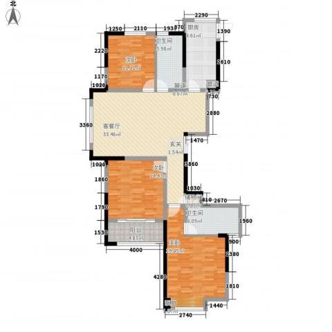 新洲・欧洲城3室1厅2卫1厨104.71㎡户型图