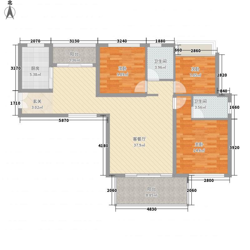 正源华府132.10㎡4#标准层2户型3室2厅2卫1厨