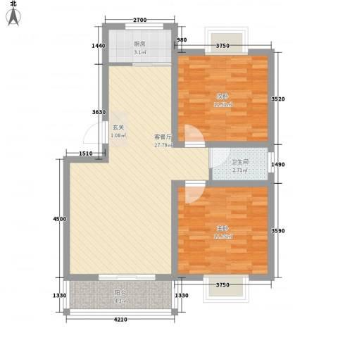 世嘉馨城2室1厅1卫1厨88.00㎡户型图