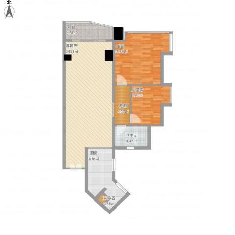 祈福新村迎风阁2室1厅1卫1厨116.00㎡户型图