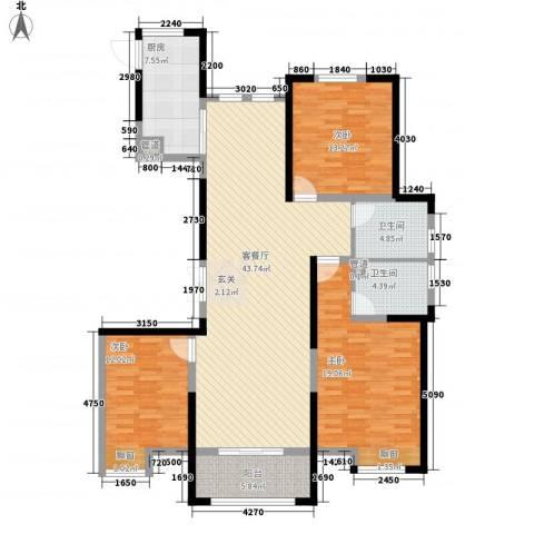新洲・欧洲城3室1厅2卫1厨158.00㎡户型图