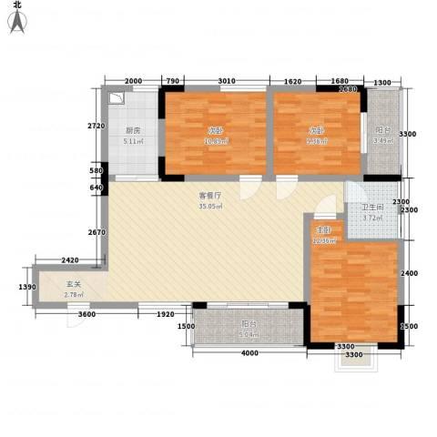 汇金中央广场3室1厅1卫1厨85.04㎡户型图