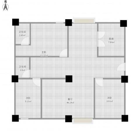 博罗新城建业・金域华府3室1厅2卫1厨125.00㎡户型图
