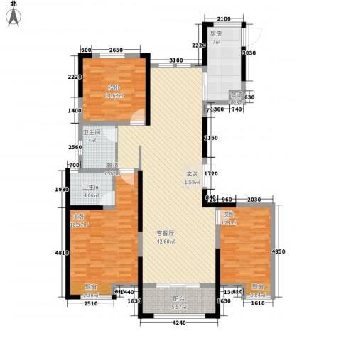 新洲・欧洲城3室1厅2卫1厨151.00㎡户型图