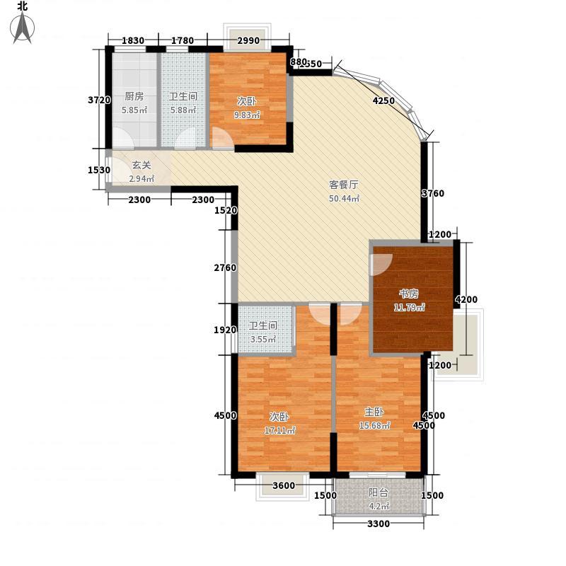 恒远中央公馆17.85㎡一期1#A4户型4室2厅2卫1厨