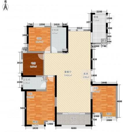 新洲・欧洲城4室1厅2卫1厨134.18㎡户型图