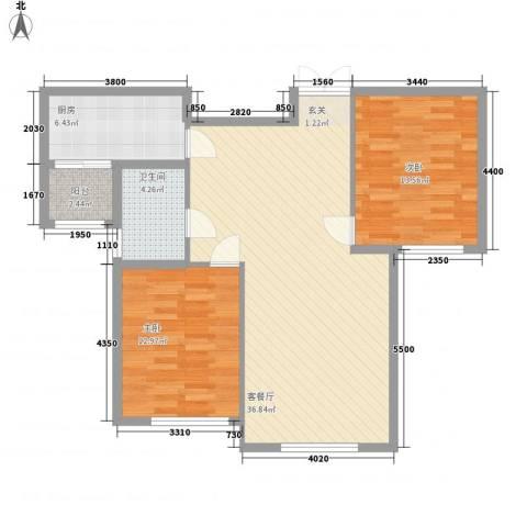 三和翠雍星城2室1厅1卫1厨85.27㎡户型图
