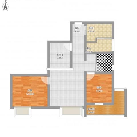盛世明珠2室1厅1卫1厨90.00㎡户型图