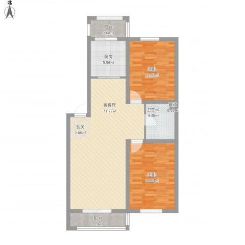 保利花园三期双河城2室1厅1卫1厨105.00㎡户型图