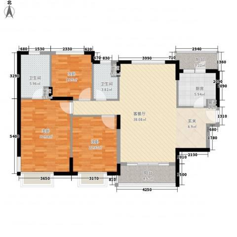 凯德嘉博名邸3室1厅2卫1厨143.00㎡户型图